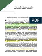 DE LA HERMENÉUTICA EN LAS CIENCIAS SOCIALES...