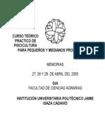 CURSO TEÓRICO PRACTICO DE PISCICULTURA PARA PEQUEÑOS Y MEDIA