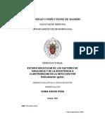 ESTUDIO MOLECULAR DE LOS FACTORES DE VIRULENCIA Y DE LA RESISTENCIA A CLARITROMICINA EN LA INFECCIÓN POR Helicobacter pylori.