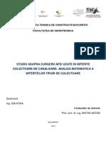 Modelare Matematica a Colectoarelor de Canalizare
