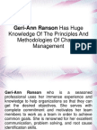 Geri-Ann Ranson Has Huge Knowledge Of The Principles And Methodologies Of Change Management