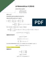 Parcial Matemáticas II resuelto
