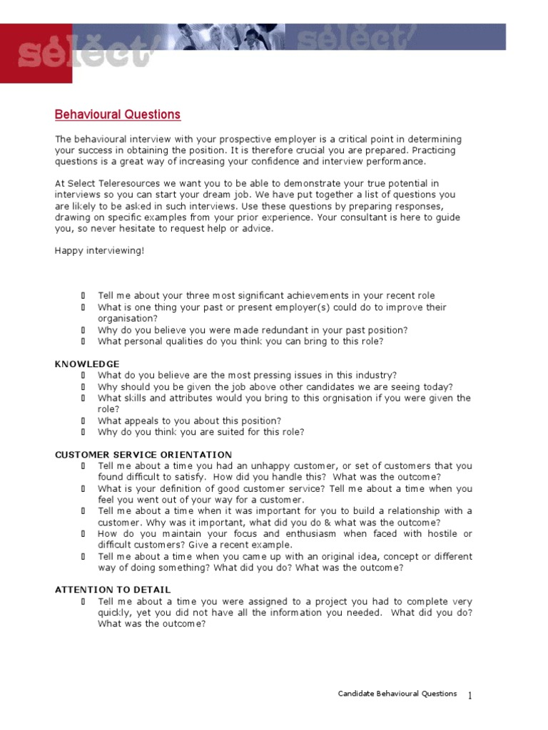 behavioural questioning tips cands