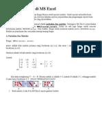 Operasi Matriks Di Ms Excel