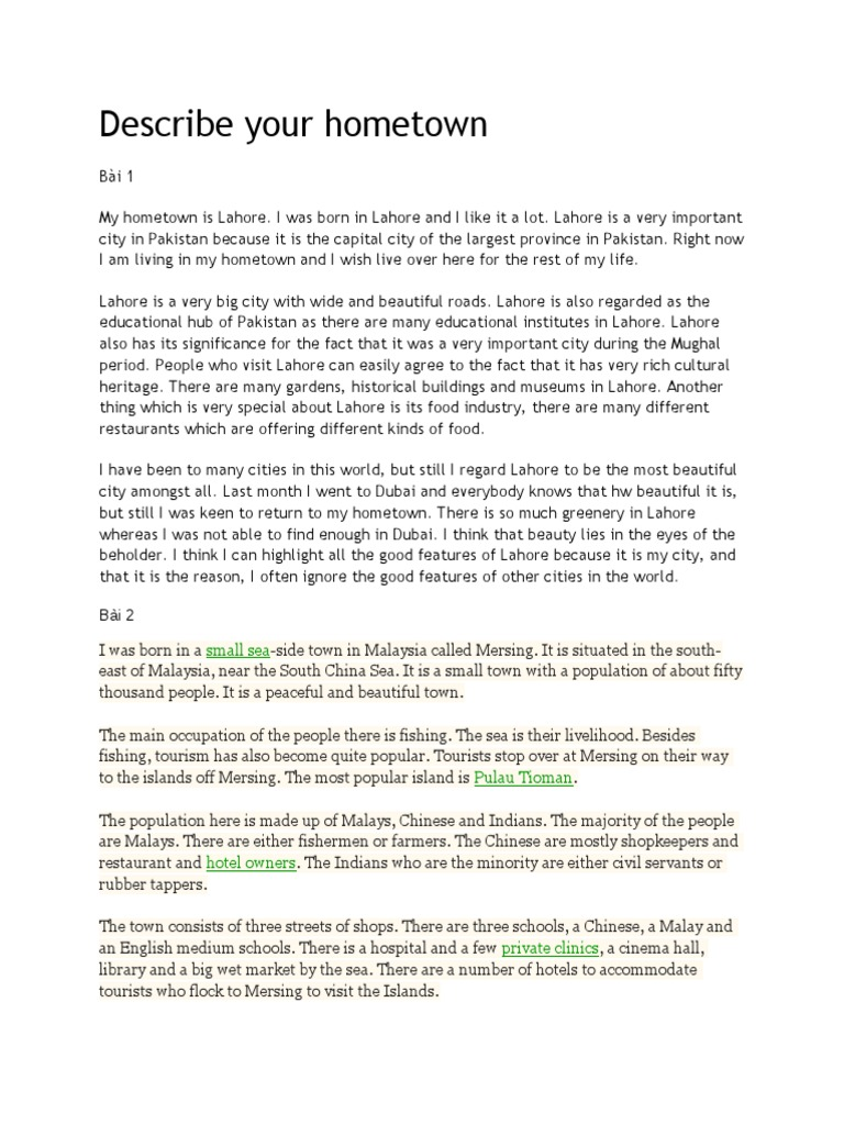 My home town lahore essay
