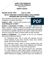 i. Ra 7076 People's Small Scale Mining Act of 1991