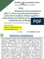 Evaluación y Simulación de los parámetros (pH, T y P) en la producción de biogás a partir de los residuos sólidos orgánicos domiciliarios del distrito de Ica mediante la instalación de un Biodigestor
