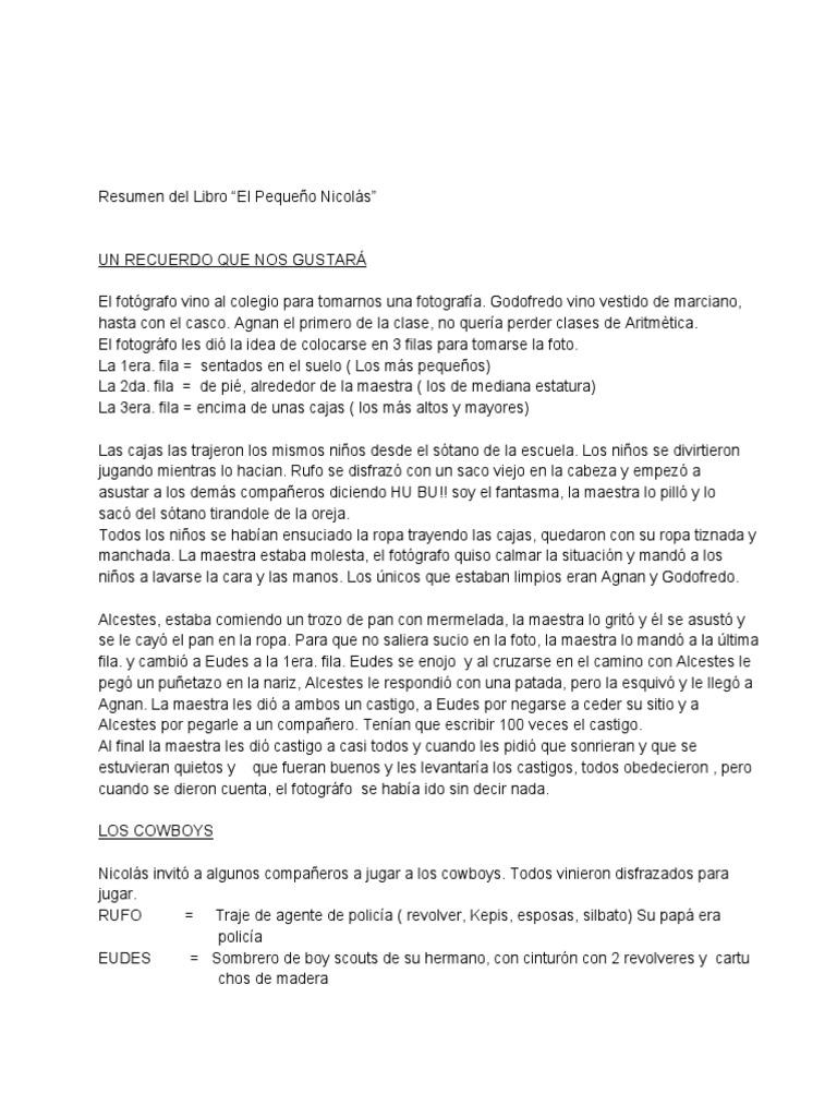 resumen de algunos capitulos de el peque u00f1o nicolas