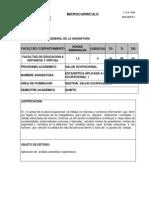 Modelo Microcurriculo Estadistica Aplicada a La Salud Ocupacional i