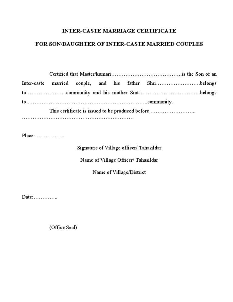 Inter Caste Marriage Certificate