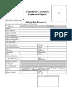 Impreso Solicitud de Pasaporte