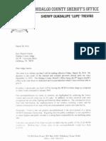 Hidalgo County's Sheriff Letter Announcing Retirement