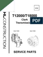 Telescopic Handler T12000 T18000 Clark Transmissions Parts Manual