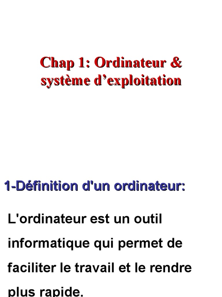 Cours architecture de l 39 ordinateur et syst me d 39 exploitation for Definition architecture informatique