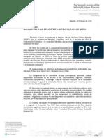 Invitación al Alcalde de Quito Barrera a participar de la VII edición del Foro Urbano Mundial (WUF7)