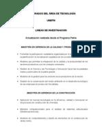 POSTGRADOS DE TECNOLOGÍA. LÍNEAS DE INVESTIGACIÓN