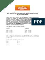 ATA DE ELEIÇÃO DA COMISSÃO INTERNA DE PREVENÇÃO DE ACIDENTES CIPA