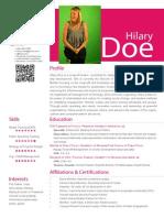 Resume, Hilary Doe (2014)