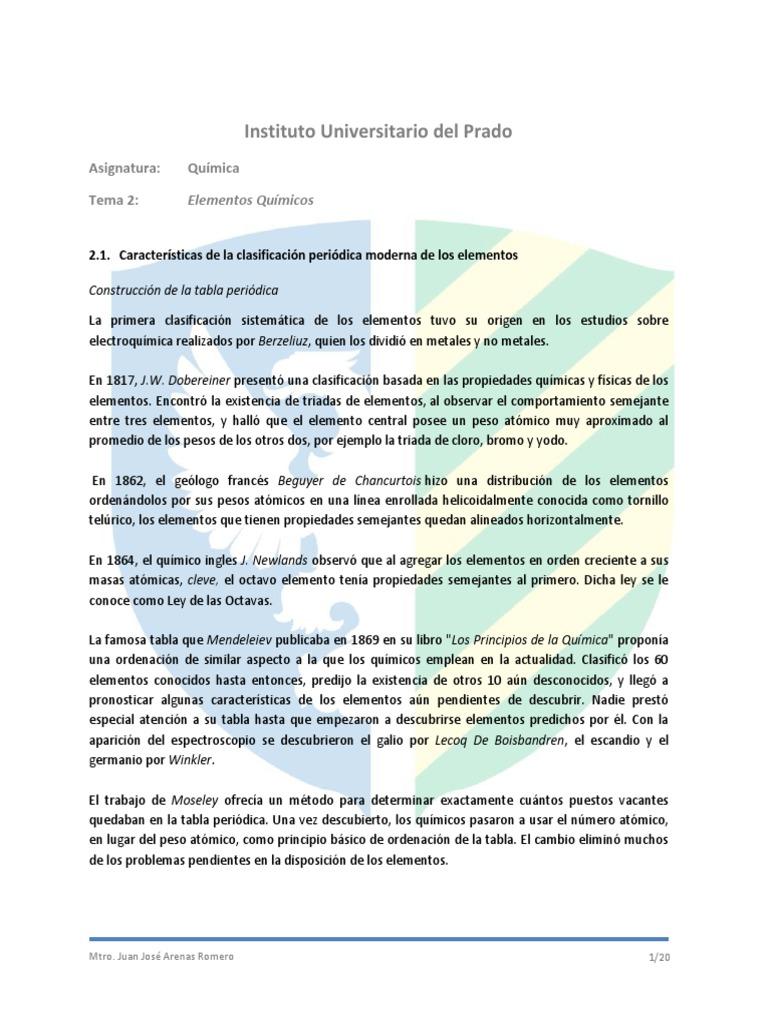 material didctico tema 2 liis109 qumicapdf - Tabla Periodica De Los Elementos Quimicos Universitaria