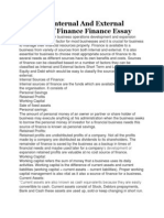 Study on Internal and External Sources of Finance Finance Essay