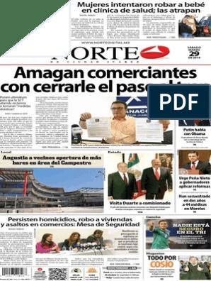 Periódico Norte De Ciudad Juárez Edición Impresa Del 29