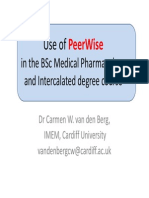 Use of Peerwise in The BSc Medical Pharmacology and Intercalated degree course