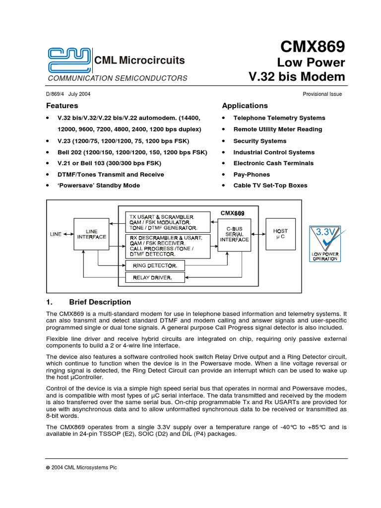 cmx869ds modulation detector (radio)Schematic Diagram Bell 103 Compatible Fsk Modem #20