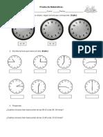 Prueba de Matemáticas la hora