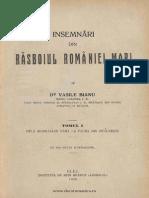 Însemnări din răsboiul României Mari. Volumul 1