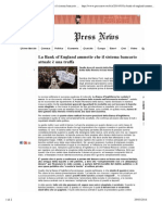 Press News- La Bank of England ammette che il sistema bancario attuale è una truffa