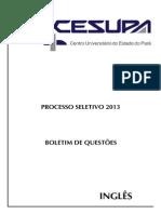 Cesupa Pa 2013 1 Prova Completa Ingles c Gabarito