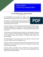 Speech Written for Senator Alan Cranston on U.S. Foreign Police Training and Assistance