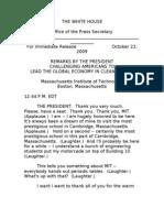 Obama Remarks MIT 10.23