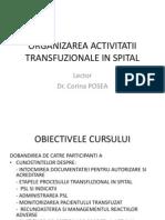Organizarea Activitatii Transfuzionale in Spital