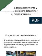 Propósito del mantenimiento y procedimiento para determinar el
