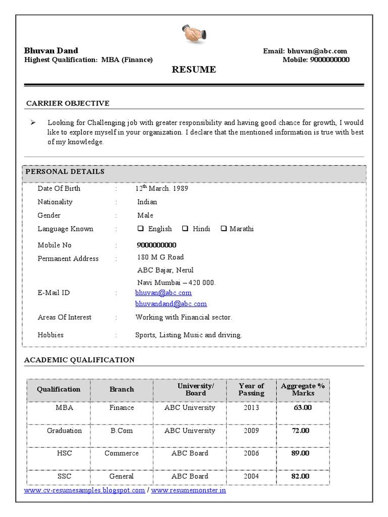 mba finance resume sample for experience  economics