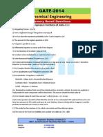 jj GATE 2014Chemical Question Paper