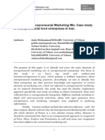 Developing Entrepreneurial Marketing Mix Case Study of Entrepreneurial Food Enterprises in Iran