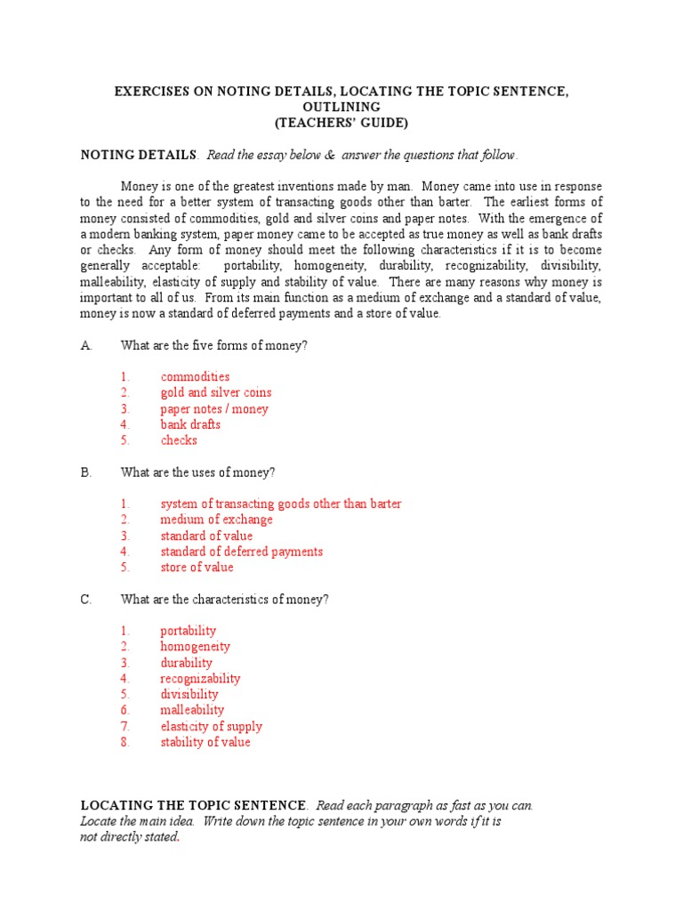 Workbooks types of sentences worksheets grade 6 : Exercises on Noting Details, Locating the Topic Sentence, And ...