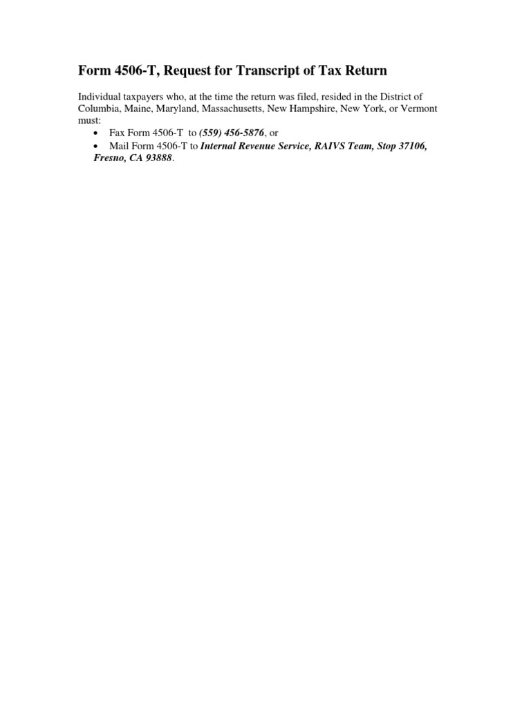 Form 4506 T Request For Transcript Of Tax Return Irs Tax Forms