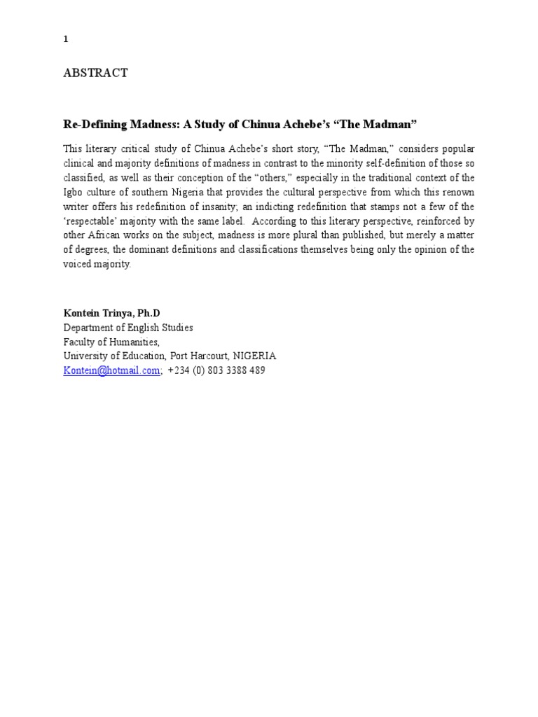 The madman by chinua achebe