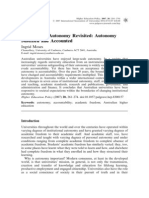 Institutional Autonomy Revisited- Autonomy Justified and Accounted