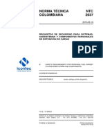 Ntc2037 Requisitos de Seguridad Para Sistemas, Sub Sistemas y Componentes de Detencion de Caidas