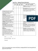 Short Book Review Rubric & PQP Form