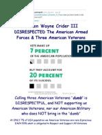 Steven Wayne Crider III DISRESPECTED The American Armed Forces & Three American Veterans