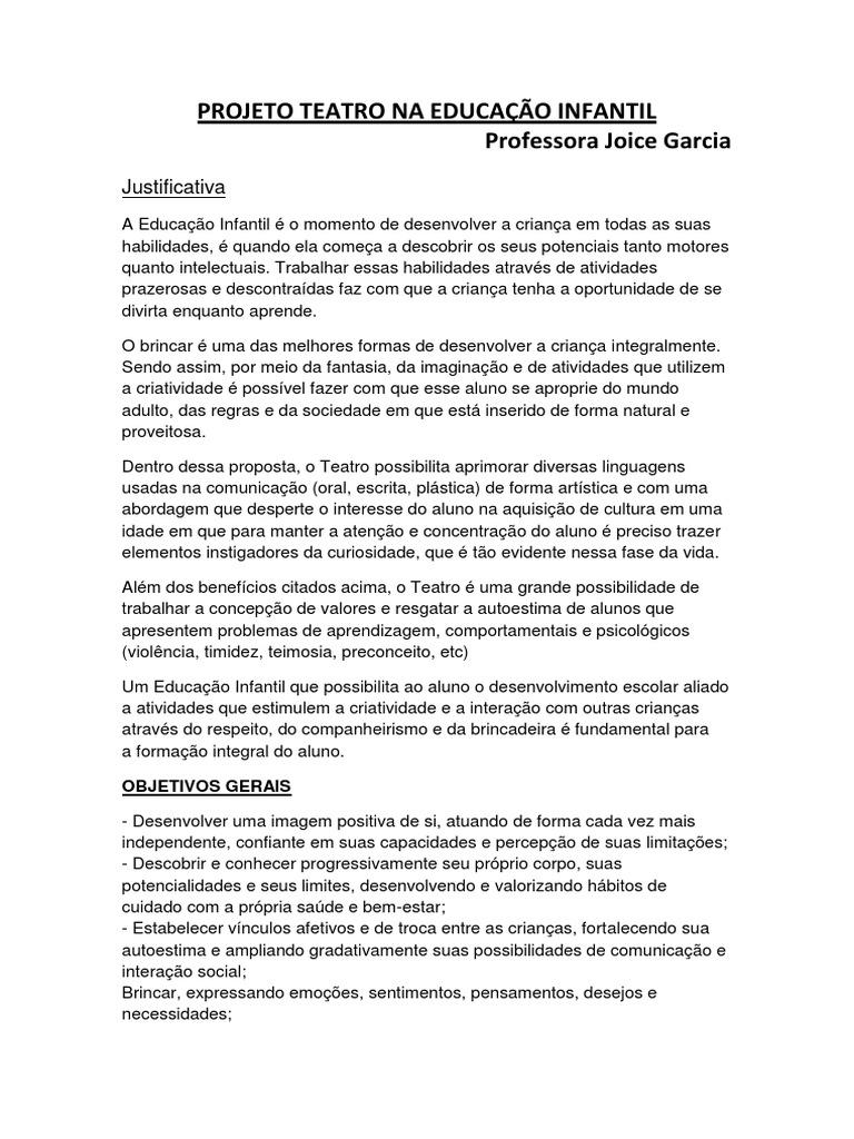 Super PROJETO TEATRO NA EDUCAÇÃO INFANTIL DT28