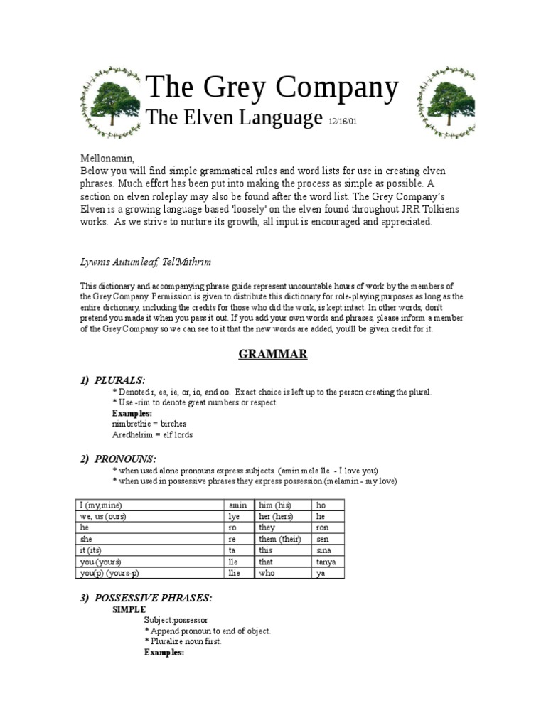 J R R  Tolkien - Elvish | Elf (Middle Earth) | Verb