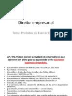 Direito Empresarial- Os Proibidos de Execer Empresa