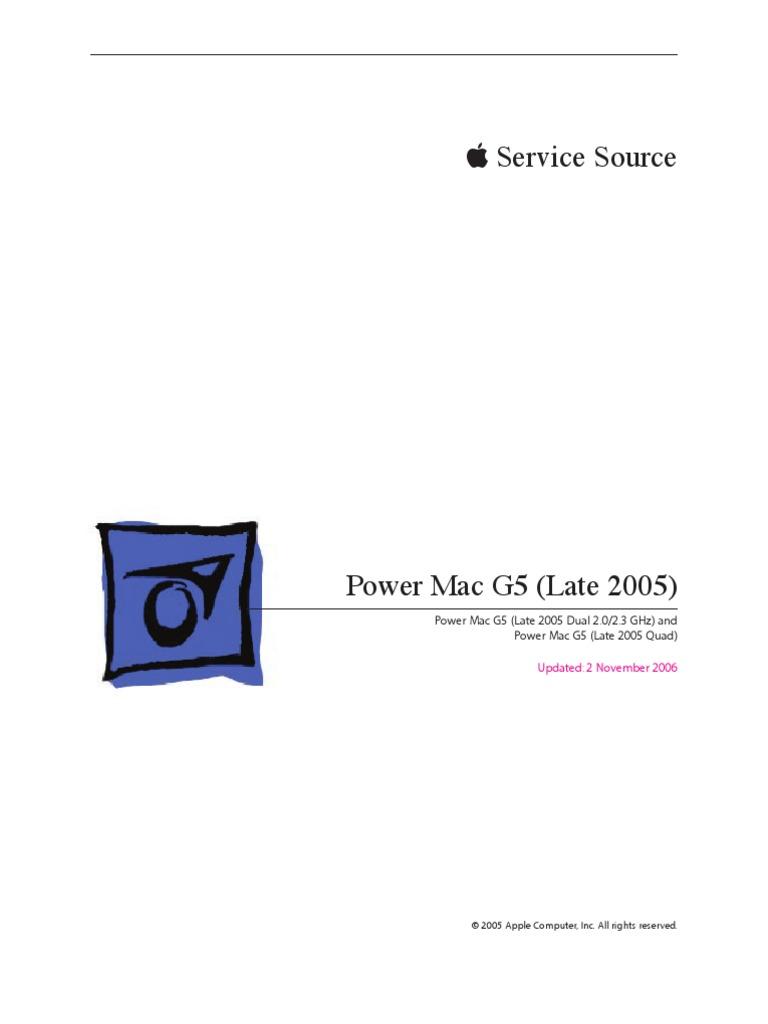 apple service diagnostic power mac g5 late 2005
