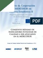 Conjunto Minimo de Indicadores Estandar de Calidad a Ser Aplicados en El Mercosur